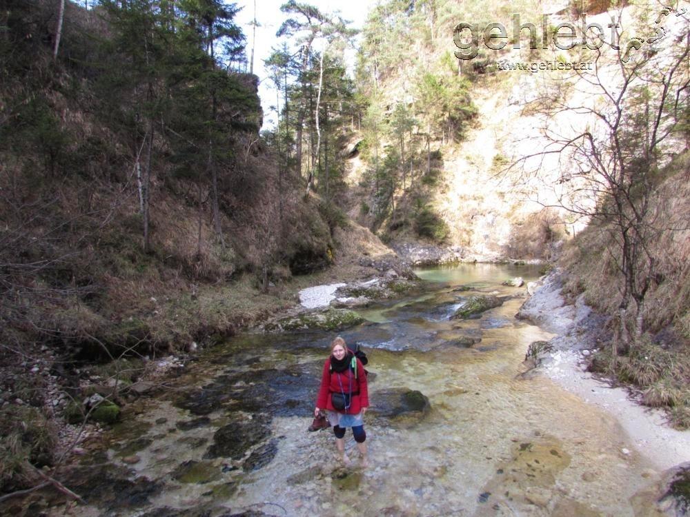 Alina scheut nicht die eiskalte Flussüberquerung über den Rettenbach...ich nahm den Steg.