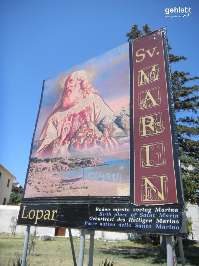 Der Heilige Marin empfängt mich in Lopar.