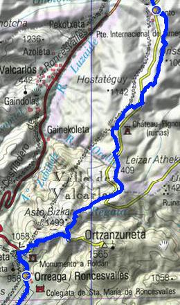 von Huntto nach Roncesvalles / Kartengrundlage: www.ign.es
