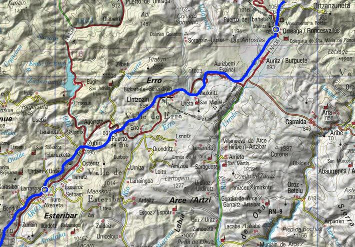 von Roncesvalles nach Larrasoana Kartengrundlage: www.ign.es