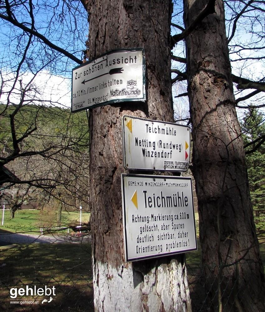Winzendorfer Rundwanderweg A - nette Schilder
