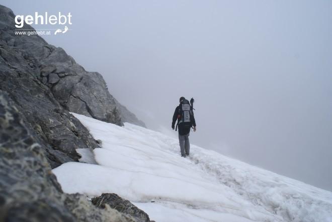 Der erste Gletscherabschnitt wird oft begangen und ist unschwierig.