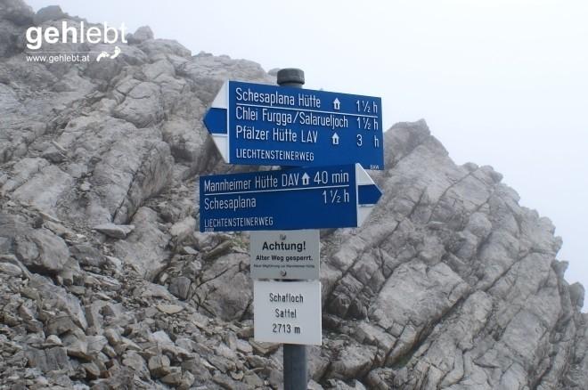 Ab hier ist der Gletscher hinter uns gebracht, weiter geht's am Liechtensteinweg zur Pfälzer Hütte.