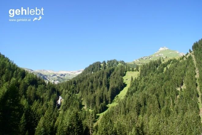 Blick zurück auf den Stüberfall in der Mitte, dem Liechtensteiner Höhenweg dahinter und dem Gorvion zur Rechten.