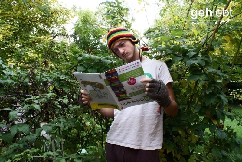 Wir entführen das Bananenblatt in die Natur, auch wenn in einem Rosenbusch stehend die Welt verkehrt aussieht.