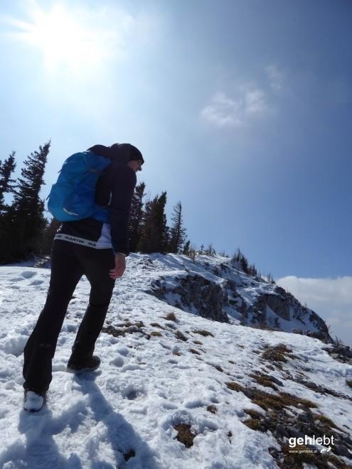 Die letzten schneebedeckten Meter zum Gipfel.